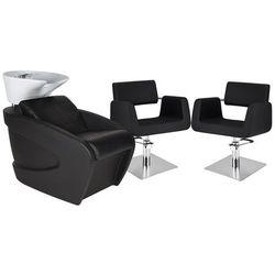 Zestaw Mebli Fryzjerskich Myjnia Vanity Z Białą Misą + 2 Fotele Stein Kwadrat