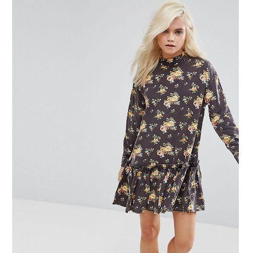 Suknie i sukienki, ASOS PETITE Washed Mini Dress with Ruffle Hem in Floral Print - Multi