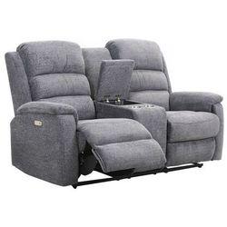 Sofa 2-osobowa z tkaniny z elektryczną funkcją relaksu ze stolikiem NEVERS - Antracytowa