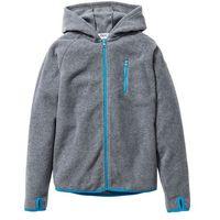 Bluzy dziecięce, Bluza z polaru z kontrastowymi elementami bonprix szary melanż - turkusowy