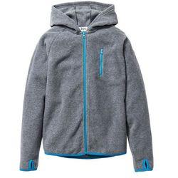 Bluza z polaru z kontrastowymi elementami bonprix szary melanż - turkusowy
