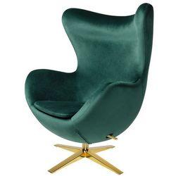 Fotel tapicerowany EGG SZEROKI VELVET GOLD ciemny zielony.18 - welur, podstawa złota