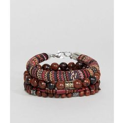 ASOS Bracelet Pack In Burgundy And Brown With Semi Precious Stones - Brown