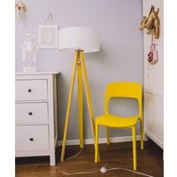 Lampy stojące, Lampa podłogowa na trzech nogach drewniana z abażurem RAGABA WANDA - kolor żółty, biały abażur