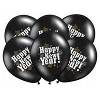 Balony, Balony czarne z nadrukiem Happy New Year na sylwestra - 37 cm - 5 szt.