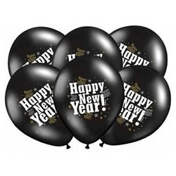 Balony czarne z nadrukiem Happy New Year na sylwestra - 37 cm - 5 szt.