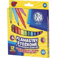 Flamastry 12 kolorów stożkowe marki Astra papiernicze