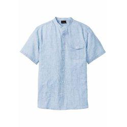 Koszula z lnem, krótki rękaw bonprix jasnoniebieski melanż, kolor niebieski